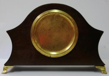 French 8 day mantel clock timepiece circa 1920 by Bayard, with boxwood inlay and marquetry panels on gilt brass bracket feet. Gilt brass bezel with convex glass over white enamel dial with black arabic hours and blued steel hands. Brass drum movement numbered #12889 with the Bayard back stamp, and inscribed '8 Days, Lever Movement, Made in France', '2 Jewels'.