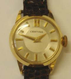 Ladies Certina 14 ct gold cased manual wind wrist watch