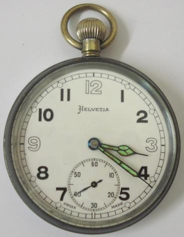 Swiss Helvetia chromed case ex-military pocket watch with top wind and time change. White enamel dial with black arabic hours and blued, luminous insert, steel hands and subsidiary seconds dial at 6 o/c. Swiss General Watch Co. manual wind lever movement with over-coil hair spring, the watch case back inscribed with the broad arrow mark and 'GS/TP P28656' and the whole housed in an external dust resistant two part case.