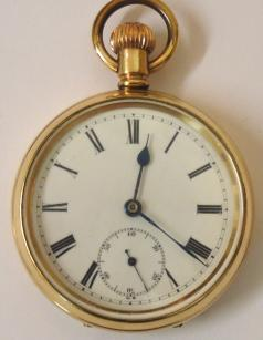 English gold plated cased pocket watch in a Dennison 'Star' case. White enamel dial with black roman hours and blued steel hands with a subsidiary seconds dial. Jewelled lever movement with split bi-metallic balance and overcoil hair spring and stamped 'Made in England' and numbered #829487 with case number #190041.