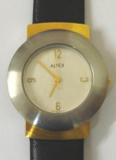 Modern quartz Swiss made wrist watch by Alfex. Brushed stainless steel and gilt case water resistant to 30 metres with a polished stainless steel back and on an original Alfex black leather strap. Silvered dial with gilt quartered hour markers and matching hands with gilt seconds hand.