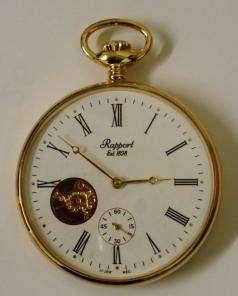 Rapport Pocket Watch Open Face gold plated visible balance