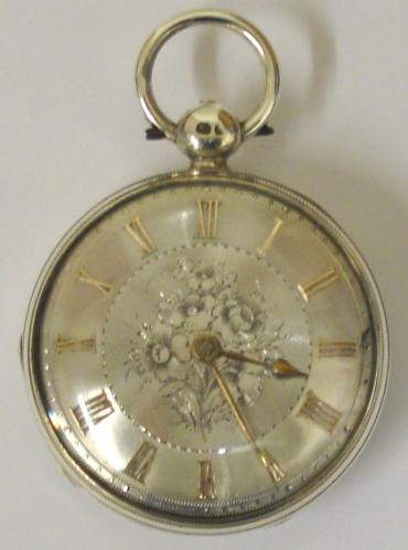 English lever silver cased key wound fusee pocket watch by Haywood of Ashford, hallmarked throughout for London 1843. Floral engraved silver dial with gilt Roman hours and matching gilt hands with subsidiary seconds dial. Engraved back plate signed and numbered #71095 with decorated cock piece and diamond end stone.