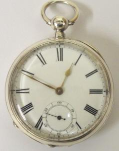 American Waltham silver cased lever pocket watch with Birmingham hallmark for 1881, case numbered #31957. Key wind and time change with white enamel dial and black Roman hours with gilt spear and shaft hands and subsidiary seconds dial. Back plate signed and numbered #1.762014 with engraved cock piece and jewelled end stone.