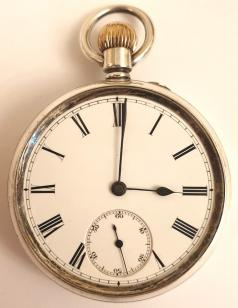 English silver 3/4 quarter plate pocket watch by the Lancashire Watch Company Ltd. and retailed by A.Wehrle & Sons, Sidney St., Cambridge with Chester hallmarked case for circa1895. Top wind and rocking bar time change with white enamel dial and black Roman hours with black steel hands and a subsidiary seconds dial at 6 o/c. Split bi-metallic balance with overcoil hairspring, signed for A.Wehrle and numbered #120597.