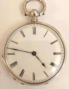 Small Swiss silver cased pocket watch maker unknown late C19th. Key wind and time change with a white enamel dial and black Roman hours with black hands. Unsigned Swiss cylinder split bar movement with case stamped 'Fine Silver' and 'CC' and numbered #98638.