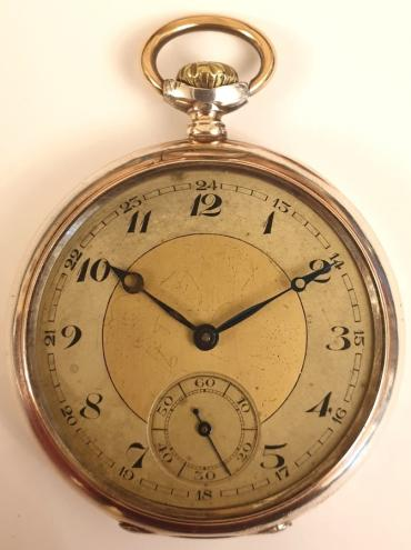 Swiss unsigned silver cased pocket watch late circa 1920. Top wind and time change with two tone silver and champagne dial and black Arabic hours with blued steel hands hands. The silver case stamped 0.800 together with a Swiss 1882-1934 proof mark and numbered #3852.23. Jewelled split bar movement by Font calibre 3, with jewelled lever escapement and breguet overcoil hairspring with split bi-metallic balance.