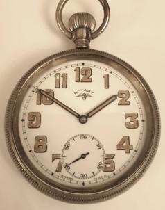 Swiss nickel cased military style pocket watch by Rotary circa 1930. Top wind and time change with signed white enamel dial with original black and luminous painted Arabic hours and blued luminous insert steel hands with subsidiary seconds dial at 6 o/c. Unitas 15 jewel jewelled lever movement in a nickel case with screw down back and front bezel.