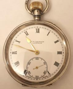 Swiss J.W.Benson pocket watch in a silver case with a London import hallmark for 1919. Top wind and time change with white enamel J.W.Benson, London signed dial with black Roman hours and gilt hands with subsidiary seconds dial at 6 o/c. Swiss 15 jewel jewelled lever escapement with bi-metallic balance in a .925 silver case numbered 1880.
